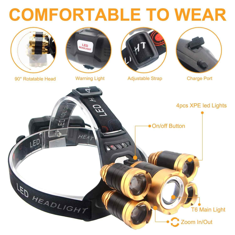 7000LM LED far süper parlak far 3/5 LED baş feneri LED lamba el feneri kamp balık ışık su geçirmez Lanterna 18650