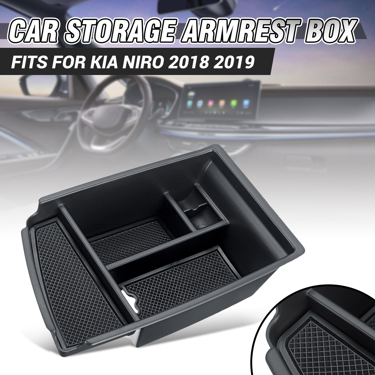 Car Interior Central Armrest Box Storage Box Holder Tray Mouldings For KIA Niro 2018 2019