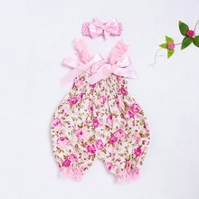 Toddler Baby Sling Jumpsuit Boys Girls Floral Romper Bodysuit Jumpsuit+Headband Set Baby Kids Outfit Locely Bow Romper Vestito(China)