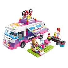 319 Blocks Of Emmy Shirley Girls Series Green Wagon Assembled Small Particles Building Childrens Gift Festival Puzzle