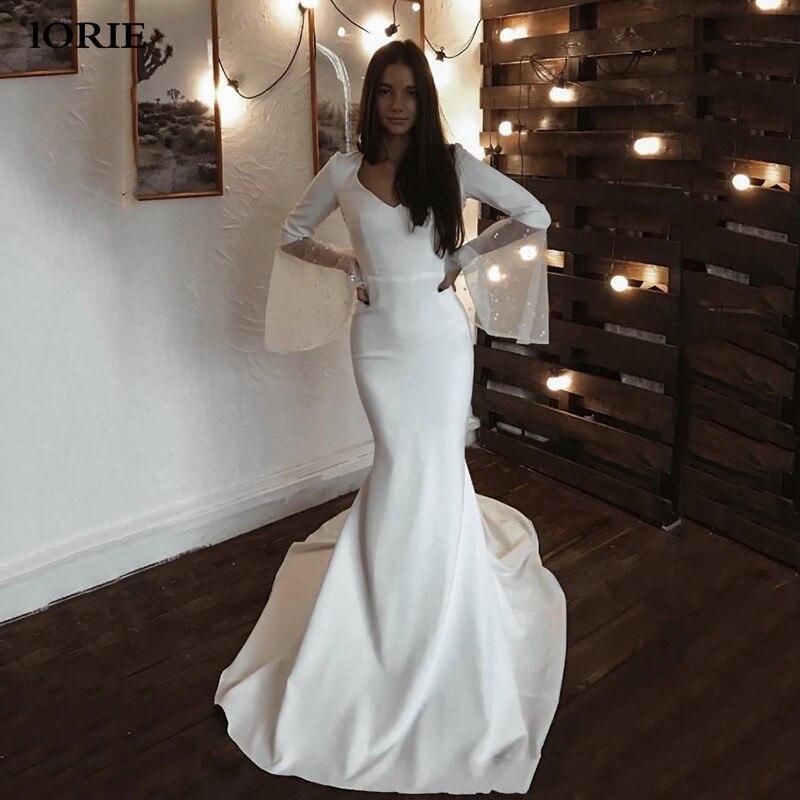 LORIE Mermaid Wedding Dress 2020 Flare Sleeve Appliqued Lace Bride Dresses V Neck Simple Wedding Gowns Stain Vestidos De Novia