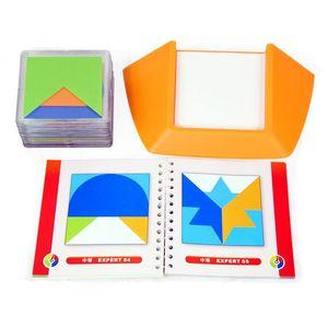 Image 2 - 100 Challenge игра головоломка с цветным кодом Tangram головоломка доска игрушка головоломка дети развивают логику пространственные навыки мышления игрушка