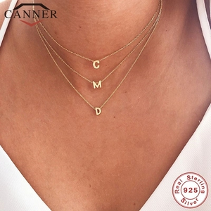 CANNER Real 925 Sterling Silver 26 Letter Round Choker Necklace For Women European and American Minimalist Fine Jewelry