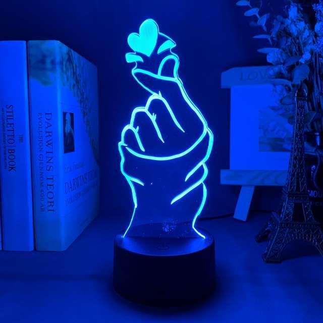 16 COLOR FINGER HEART LED LAMP