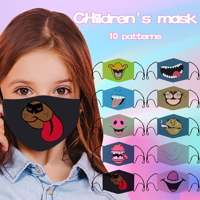 #30 Kids Masks Cute Cartoon Face Mask Fashion Adjustable Washable Safet Protect Cotton Funny Face Mask Mundschutzmaske Kinder