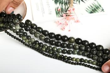 Natural Green Side Stone 4 6 8 10 12 mm Loose Beads For Jewelry Making Fashion Women Bracelets Nacklace Drop Shipping image
