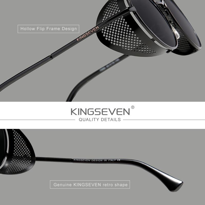 Genuine KINGSEVEN Retro Round Steampunk Sunglasses Men Retro Women Sun Glasses Shades Vintage Travel Eyewear Gafas De Sol 7550 3