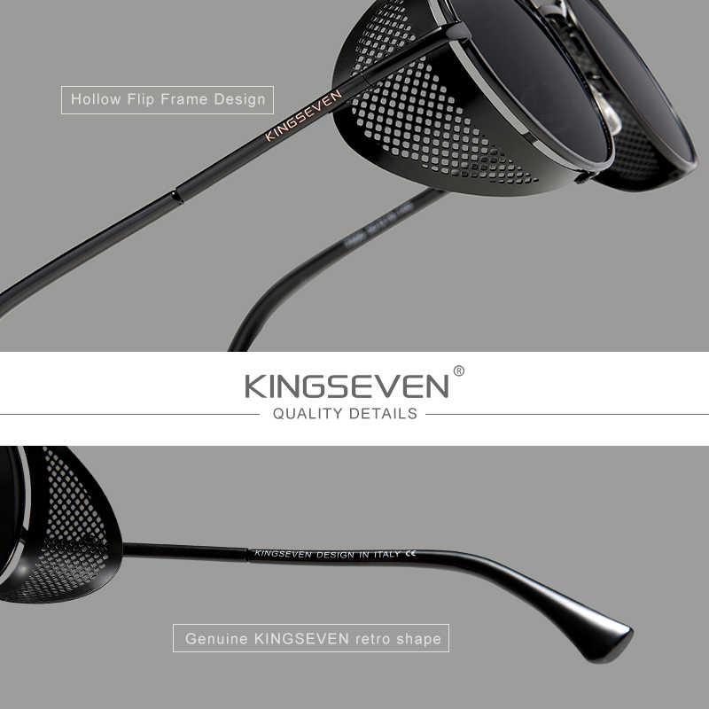 אמיתי KINGSEVEN רטרו עגול Steampunk משקפי שמש גברים רטרו נשים שמש משקפיים גווני בציר נסיעות Eyewear Gafas דה סול 7550