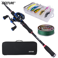 Goture Spinning /Casting Fishing Rod Combo With Fishing Rod Set Fishing Line Fishing Reel Fishing Lure Fishing Bag Tackle