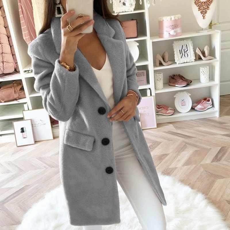 2019 Donna fashion Giacche Cappotti Autunno Inverno Caldo Lungo Giacche casual Manica Lunga Gira-giù il Collare Ourwears Fenale Miscele