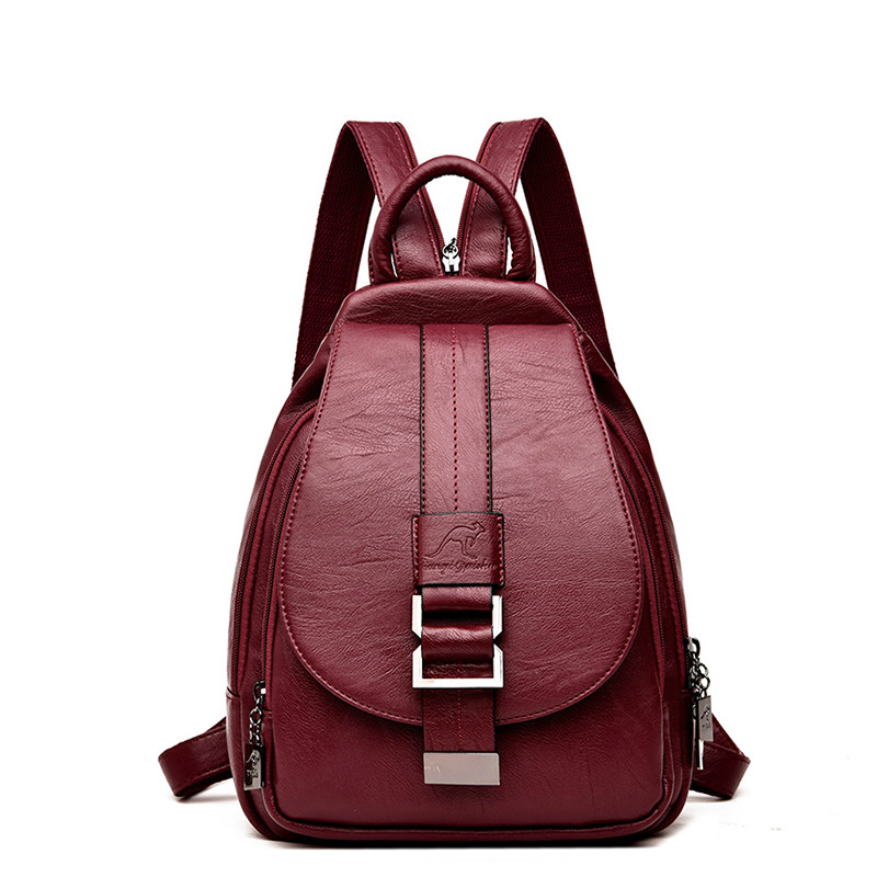 2019 Women's Leather Backpack Vintage Women's Backpack Women's Bag Schoolbag