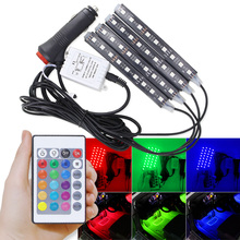 4 pcs Car RGB Led Strip Light Universal Wireless Remote Control RGB Neon LED Interior Car Light Decorative Car Atmosphere Lights new universal car interior decorative atmosphere neon light led multi color rgb voice sensor sound music control decor lamp dxy8