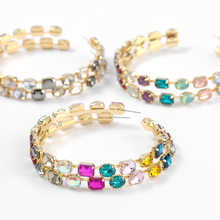 Fashion Metal Geometric Glass Hoop Earrings Women's Exaggerated Popular Earrings Campus Party Jewelry Accessories
