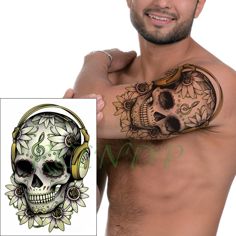 Waterproof Temporary Tattoo Sticker Skull Flower Musical Note Headset Fake Tatto Flash Tatoo Big Size Tattoos For Girl Women Men