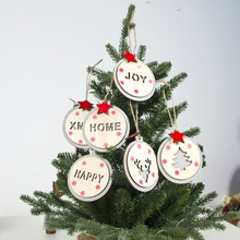 2020 DIY Christmas tree Hanging Ornaments for Holiday New Year Party Decoration Xmas Wooden Crafts Hollow-out Wording Round Tag