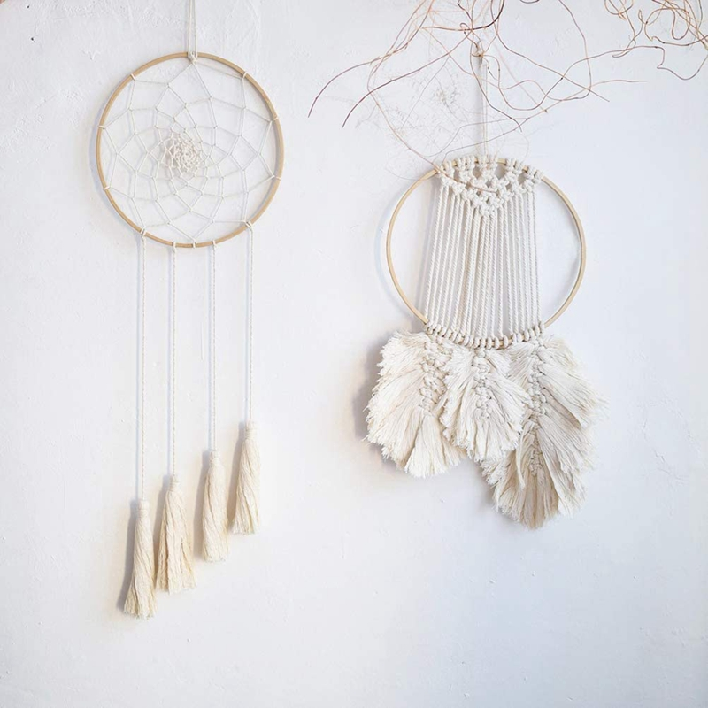 PQZATX 10Pcs Wooden Bamboo Dreamcatcher Rings Hoops Round Hoops Macrame Rings for Dream Catcher DIY Craft 27cm