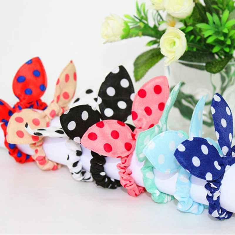 ผู้หญิงที่มีสีสันการพิมพ์ยาง Band กระต่ายน่ารักกระต่าย Bowknot Polka Dot เสือดาวดอกไม้ผมเชือก Scrunchies