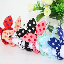 Women Girls Colorful Printing Rubber Band Cute Rabbit Ears Bowknot Polka Dot Leopard Floral Hair Rope Ponytail Holder Scrunchies(China)