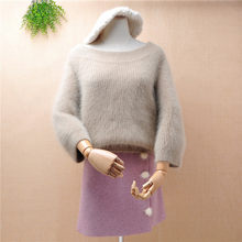 ladies women fashion hairy thick warm mink cashmere knitted slash neck seven flare sleeves pullover angora fur jumper sweater(China)