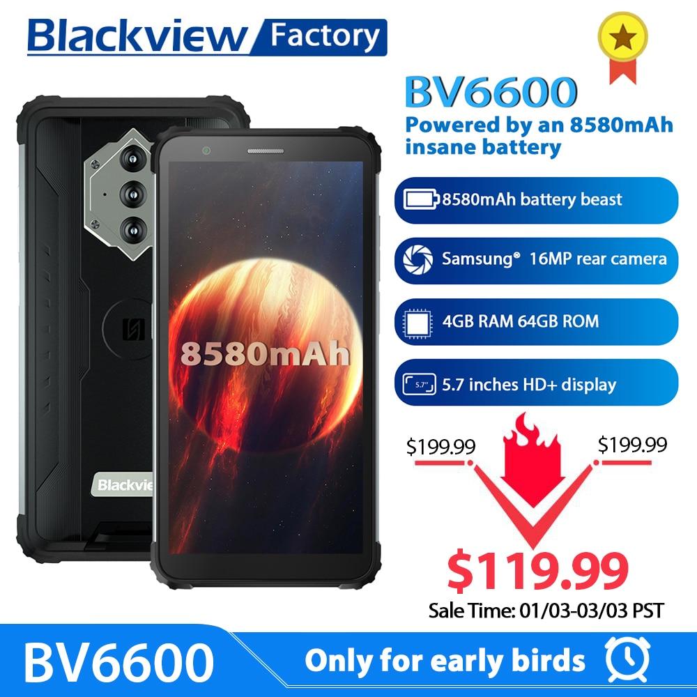 Blackview-teléfono inteligente BV6600, resistente al agua IP68, batería de 8580mAh, 4GB + 64GB, ocho núcleos, cámara de 16MP, NFC