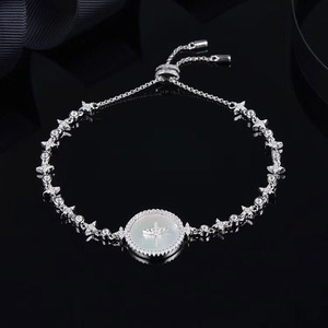 Image 1 - SLJELY Высокое качество Настоящее серебро 925 пробы звезда Искусство Круглый корпус браслет со значком микро фианит женские роскошные брендовые ювелирные изделия