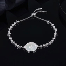SLJELY High Quality Real 925 Sterling Silver Star Art Round Shell Badge Bracelet Micro Cubic Zirconia Women Luxury Brand Jewelry