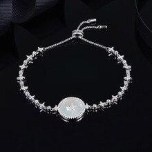 SLJELY wysokiej jakości prawdziwe 925 srebro motywy gwiezdne okrągła płytka odznaka bransoletka Micro cyrkonia kobiety luksusowej marki biżuteria