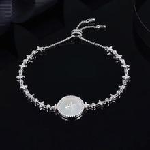 Sljely Hoge Kwaliteit Real 925 Sterling Silver Star Art Ronde Shell Badge Armband Micro Zirconia Vrouwen Luxe Merk Sieraden