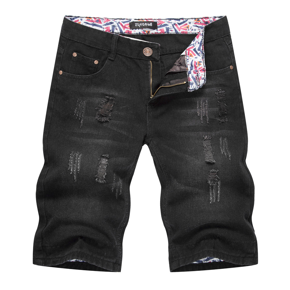 2019 Summer Denim Shorts Men Summer Black Ripped Europe And America Loose Straight Jeans