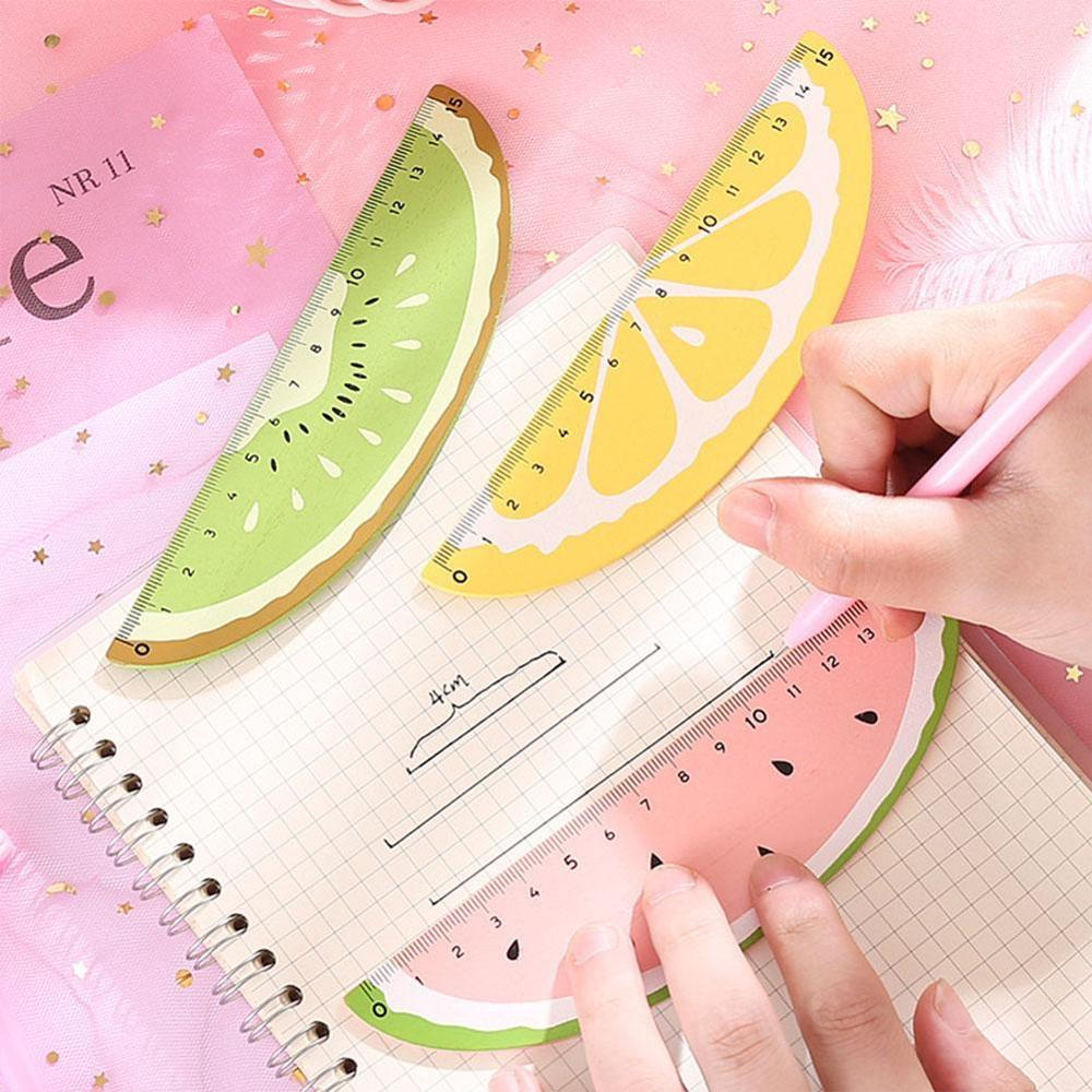 VIVIDCRAFT Wooden Fruit Ruler Cute 15cm Measuring Straight Rulers Drawing Tool Promotional Stationery Gift School Supplies