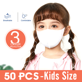 50pcs/Lot Kids Disposable Protective Mask Non-woven Dust 3-Layers PM2.5 Bacterial Proof Children Face Facial Cover Mask PPE