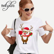 New kawaii reindeer t shirt women fashion Christmas Harajuku Short Sleeve t-shirt White Suitable all seasons Tshirt Tops clothes(China)