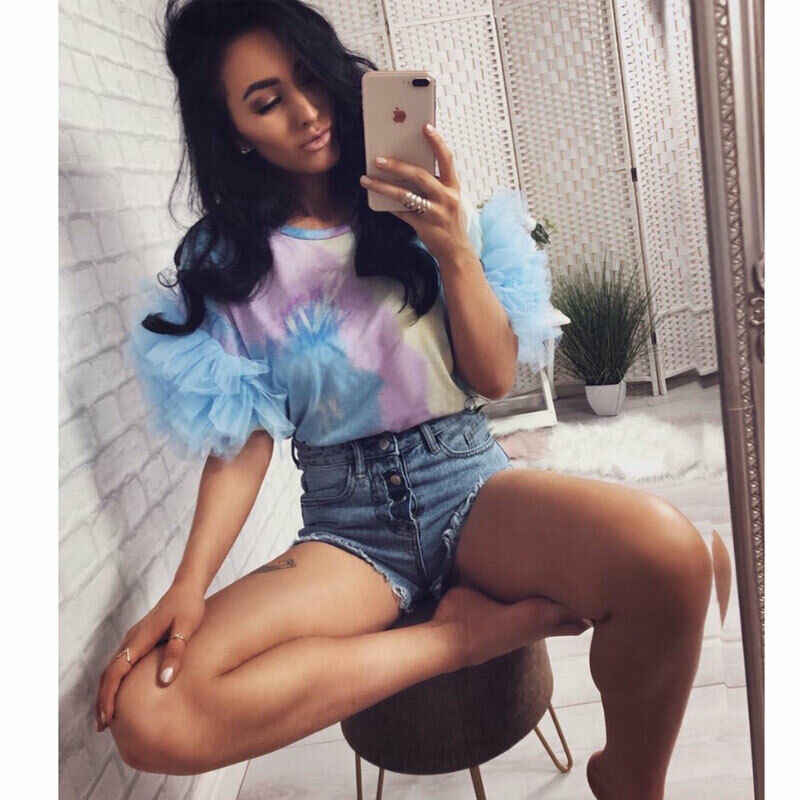 Women Summer Tulle Ruffle Short Sleeve Shirt Ladies Loose Casual Boho Blouse Top