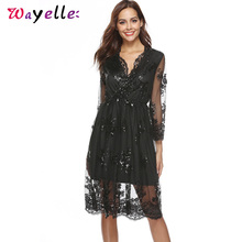 Sequined Bodycon Dress 2019V-Neck A-Line Lace Sexy Elegant Dresses Woman Party Night Chic Long Sleeve