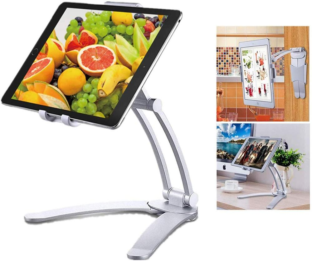 ipad iphone XMXCZKJ Tablet Mount Stand 2-in-1 Kitchen Wall Mount / Countertop Rotating Holder Stand For Ipad  iphone 11 (1)
