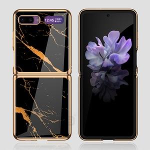 Image 3 - Étui en verre trempé en marbre pour Samsung Galaxy Z étui à rabat cadre de placage coque arrière rigide pour Samsung Galaxy Z rabat Capa de luxe
