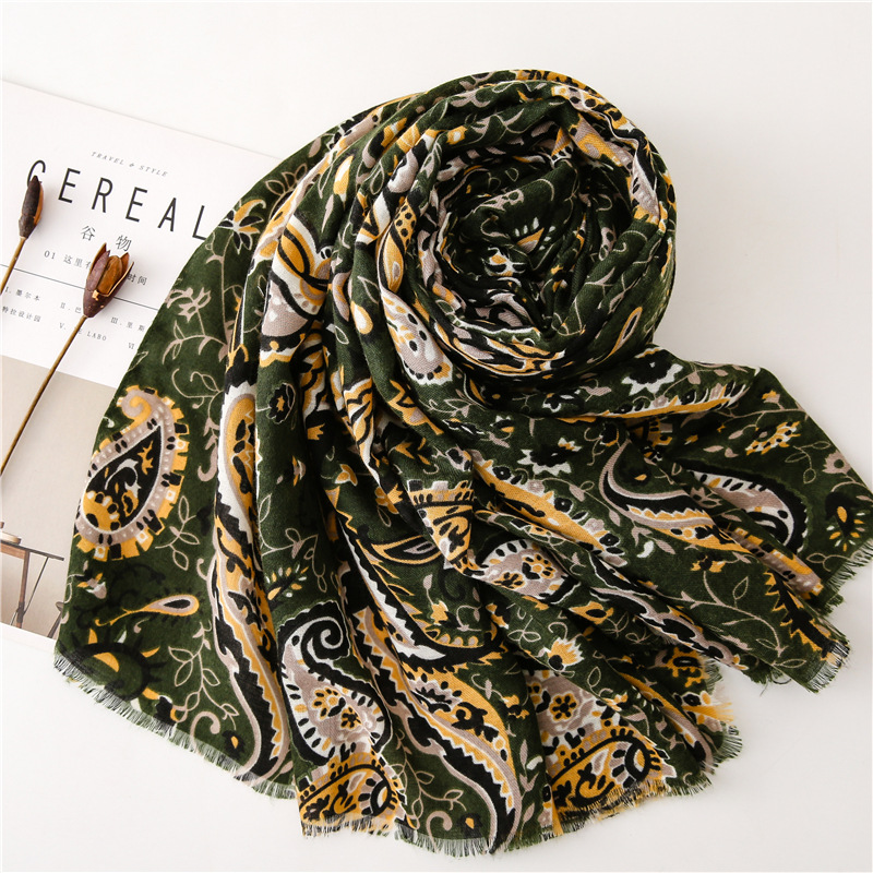 High Quality Cashew Floral Fringe Viscose Shawl Scarf 2019 Spain Luxury Brand Head Hijab Muslim Echarpe Foulards Femme 180*90Cm