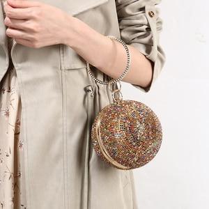 Image 5 - 女性ゴールドフルクリスタルクラッチ財布ボール形クラッチ女性ハンドバッグ結婚式の財布チェーンショルダーバッグZD1044