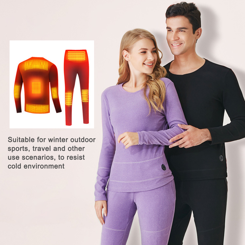 Winter Skiing Heating Underwear Set USB Battery Powered Heated Thermal Tops Pants Smart Phone Control Temperature Warm Suit