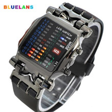 Fashion Cool Business Top Brand Luxury Unisex Binary LED Digital Date Square Dial Casual Sport Plast