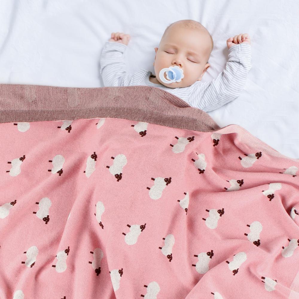 Baby Blankets 100% Cotton Cartoon Newborn Swaddle Wrap Blanket Rabbit Knit Toddler Quilt Photography Stroller Blanket