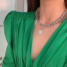IF ME Chunky Chain Choker Necklace Women Layered Thick Link Chain Necklaces Gold Portrait Coin Pendant Fashion Jewelry 2021 New
