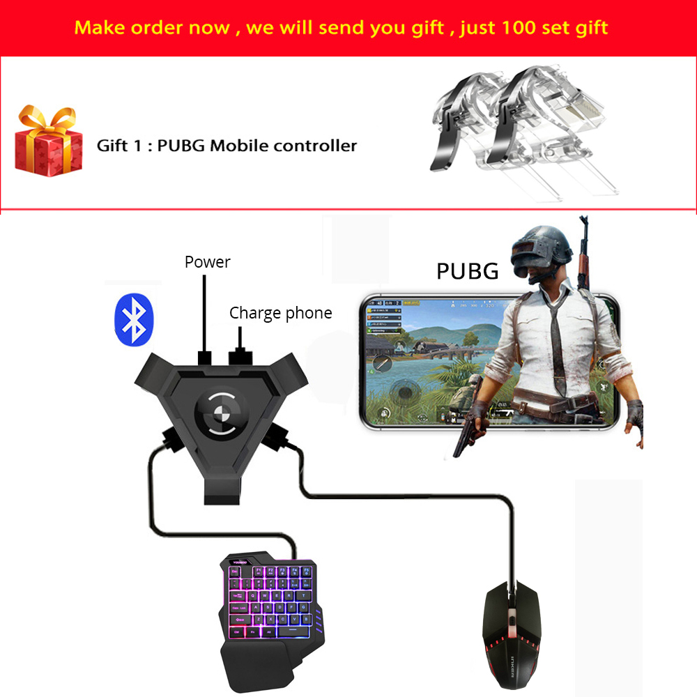 New PUBG Mobile Gamepad Controller Gaming Keyboard Mouse Converter For Android ios Phone IPAD Bluetooth 4.1 Adapter Free Gift image
