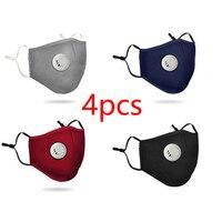 4 pçs reutilizável lavável algodão máscara de respiração válvula pm2.5 anti-poeira máscara facial unisex filtro substituível 5-camada filtro protetor