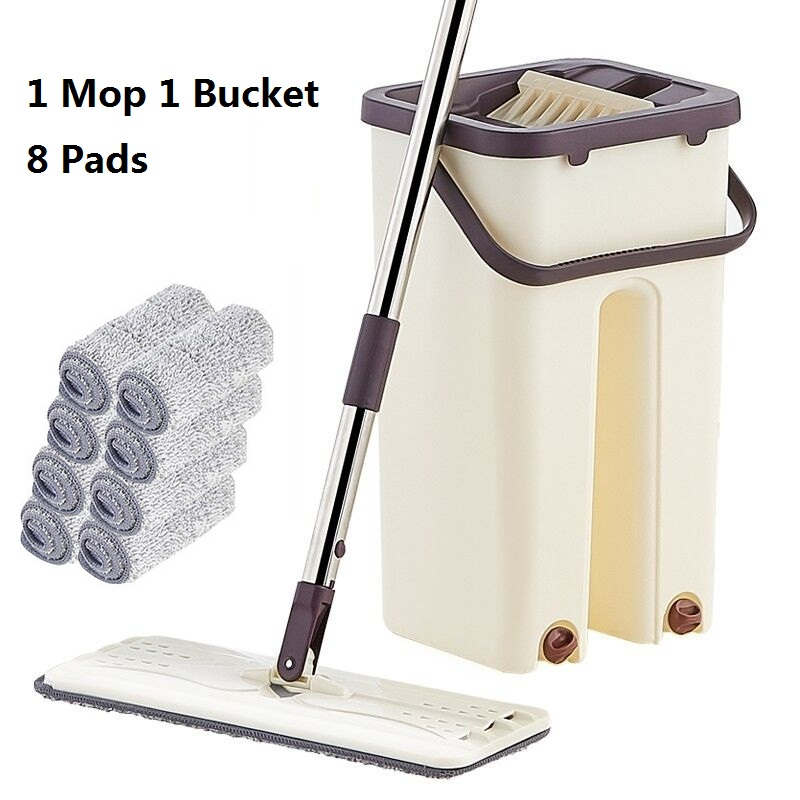 Flat Squeeze Mop and Bucket Hand-Free Wringing Floor Cleaning Mop Wet or Dry Usage Magic Automatic Spin Self Cleaning Lazy Mop