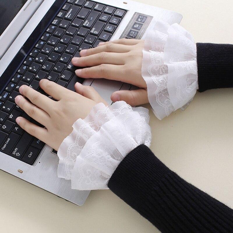 Literarischen Frauen Süße Gefälschte Ärmeln Doppel Schicht Rüschen Spitze Abnehmbare Ausgestelltes Manschetten Pullover Dekorative Handgelenk Wärmer