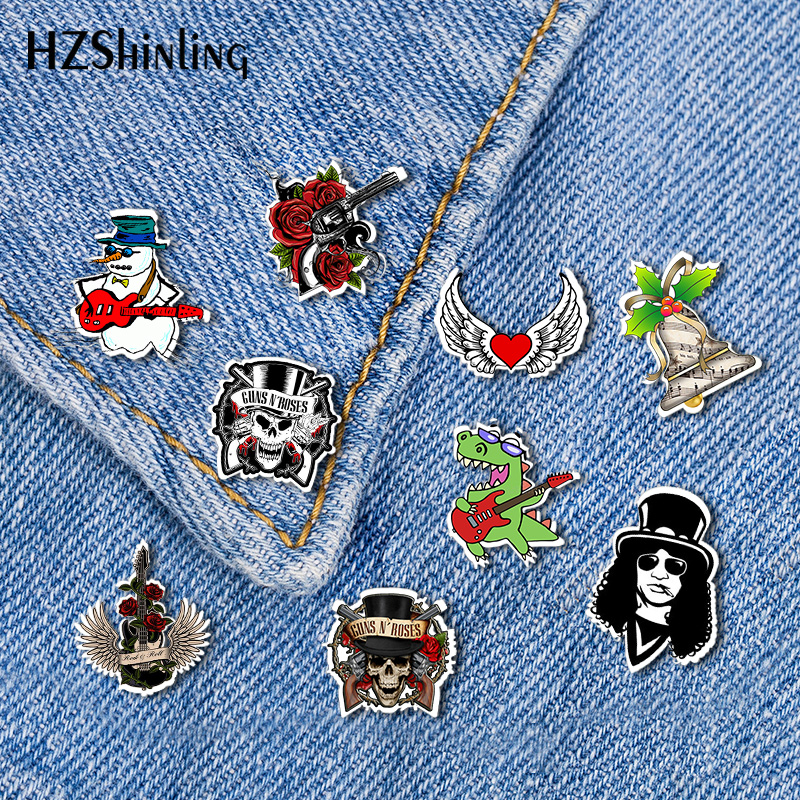 2019 New Rock And Roll Acrylic Lapel Pin Things Will Work Out Butterfly Clasp Pin Epoxy Collar Pin Brooch(China)