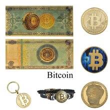 Один Биткоин золото banknotes с битом монета поддельные денежные банкноты BTC подарок деталь для коллектора банкнот Прямая поставка