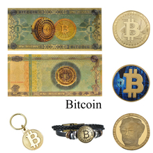 Wholesale One Bitcoin Gold Banknotes with Bit Coin Fake Money Paper BTC Gift Item for Banknote Collector Dropshipping wholesale thailand colorful 24k gold banknote 20 50 100 500 1000 currency money for business gift