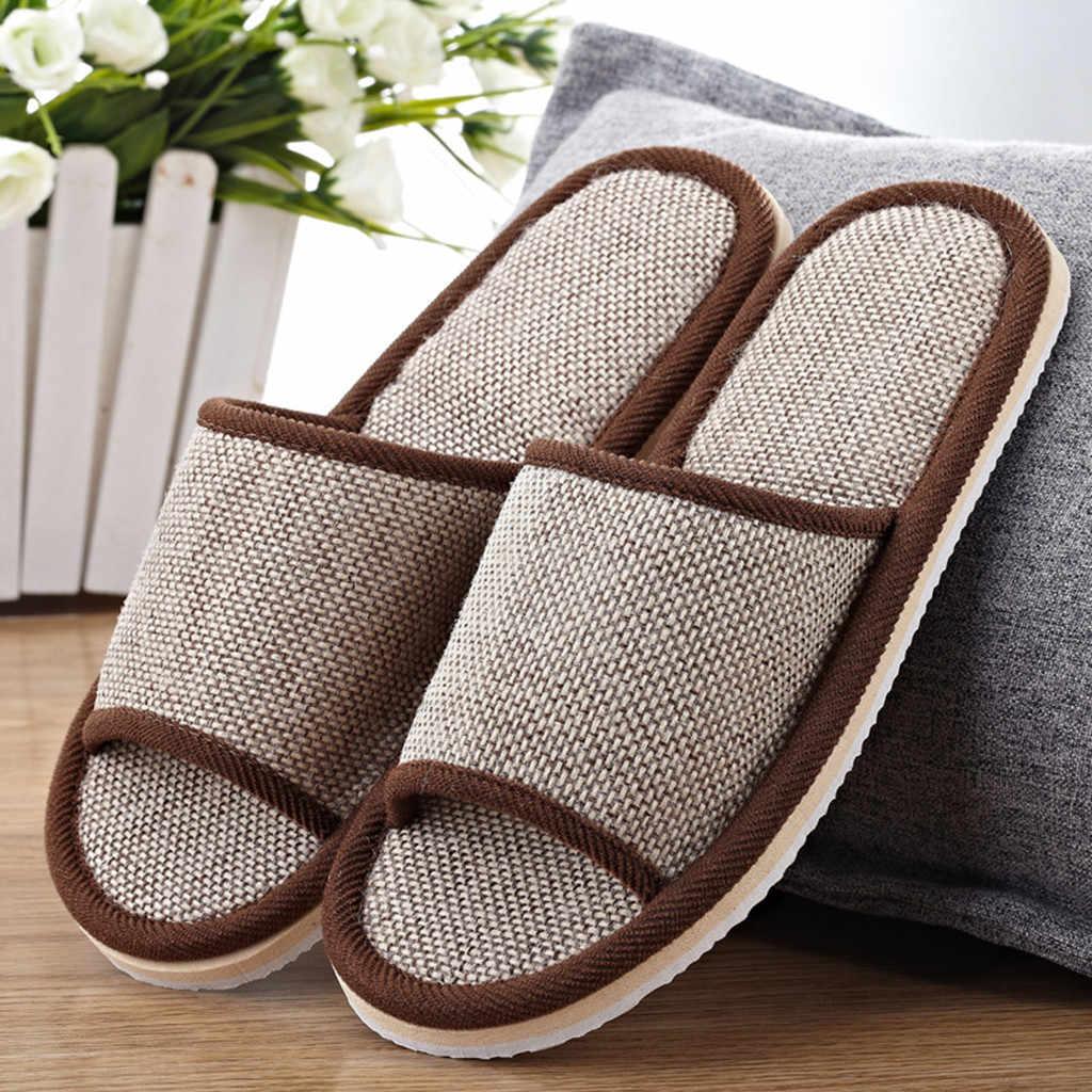 Non-SLIP Gingham คู่ผ้าลินินบ้านรองเท้าแตะและรองเท้าแตะในร่มชั้นรองเท้าแตะแบบสบายๆ